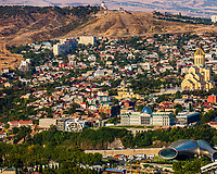 cityscape skyline of Tbilisi  with Presidential palace and Holy Trinity Cathedral Georgia capital city eastern Europe