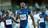 Friidrett - Athletics<br /> Junior-VM 2004 - World Junior Championships 2004<br /> Grosseto - Italia - Italy<br /> 15.07.2004<br /> Foto: Morten Olsen, Digitalsport<br /> <br /> LaShawn Merritt - USA <br /> 400 meter<br /> <br /> Nagmeldin Ali Abubakr - Sudan (761)<br /> 400 meter