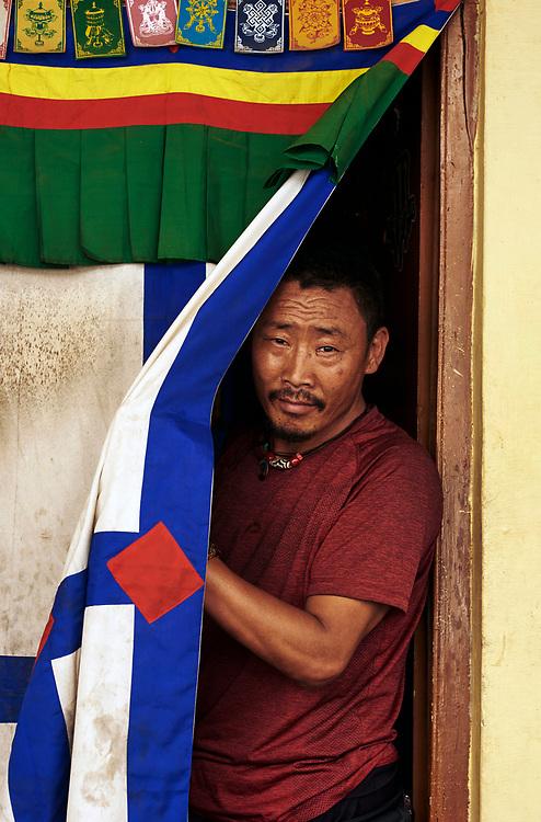 Tibetan refugee monk, Bylakuppe, Karnataka