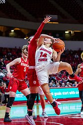 NORMAL, IL - February 07: Paige Saylor makes a leaping move towards the bucket during a college women's basketball game between the ISU Redbirds and the Braves of Bradley University February 07 2020 at Redbird Arena in Normal, IL. (Photo by Alan Look)