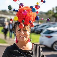 REPRO FREE<br /> Fiona Dyer from Kinsale with her award winning hat representing mental health awareness pictured at the 43nd Kinsale Gourmet Festival Mad Hatters Taste of Kinsale.<br /> Picture. John Allen