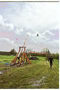 Richard Wicks. Dangerous Sports Club first trebuchet human catapult. 2000<br />© Copyright Photograph by Dafydd Jones<br />66 Stockwell Park Rd. London SW9 0DA<br />Tel 0171 733 0108
