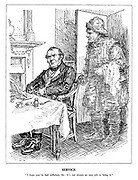 "Service. ""I hope you've had sufficient, Sir: it's not always an easy job to bring it."" (the ghost of a fisherman enters John Bull's dining room)"