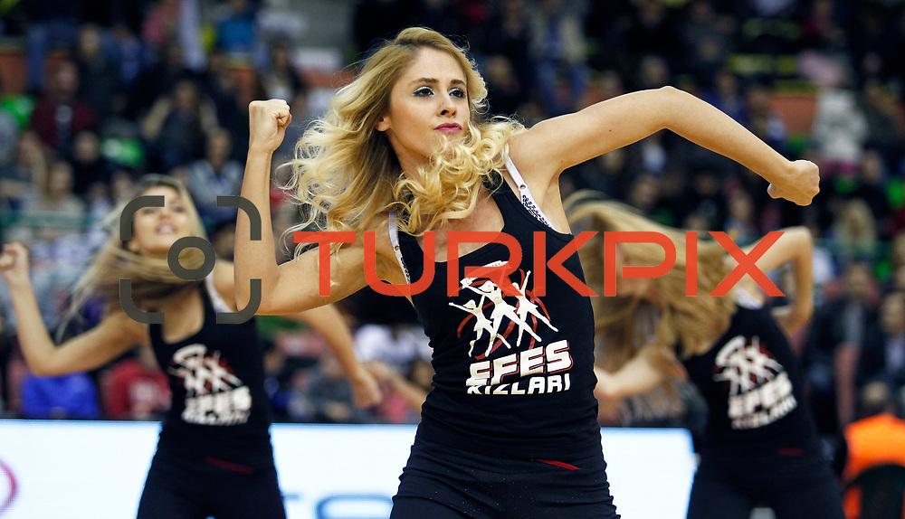 Anadolu Efes's show girls during their Turkish Basketball League match Anadolu Efes between Olin Edirne at the Ayhan Sahenk Arena in Istanbul, Turkey on Sunday, 17 March, 2013. Photo by TURKPIX