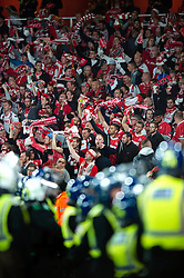 Cologne fans in the crowd surrounded by police  - Mandatory by-line: Patrick Khachfe/JMP - 14/09/2017 - FOOTBALL - Emirates Stadium - London, England - Arsenal v Cologne - UEFA Europa League Group stage