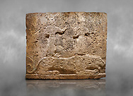 Hittite relief sculpted orthostat stone panel of Long Wall Limestone, Karkamıs, (Kargamıs), Carchemish (Karkemish), 900-700 B.C. Anatolian Civilisations Museum, Ankara, Turkey<br /> <br /> Two figures lying over the lion. There is a crescent at the head of the winged god at the front. It is thought that the figure at the front is moon god and the one at the rear is sun god. <br /> <br /> On a grey art background. .<br />  <br /> If you prefer to buy from our ALAMY STOCK LIBRARY page at https://www.alamy.com/portfolio/paul-williams-funkystock/hittite-art-antiquities.html  - Type  Karkamıs in LOWER SEARCH WITHIN GALLERY box. Refine search by adding background colour, place, museum etc.<br /> <br /> Visit our HITTITE PHOTO COLLECTIONS for more photos to download or buy as wall art prints https://funkystock.photoshelter.com/gallery-collection/The-Hittites-Art-Artefacts-Antiquities-Historic-Sites-Pictures-Images-of/C0000NUBSMhSc3Oo