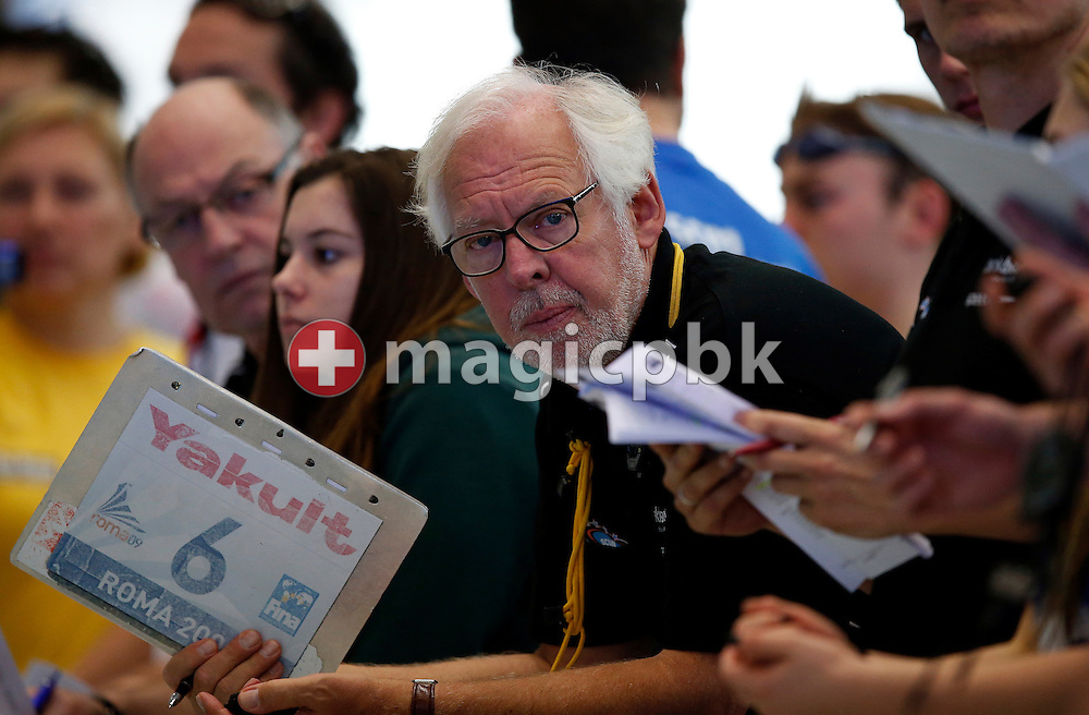SCUW's elite coach Flemming POULSEN of Denmark follows a race during the Swiss Swimming Championships at the Piscine des Vernets in Geneva, Switzerland, Sunday, March 17, 2013. (Photo by Patrick B. Kraemer / MAGICPBK)