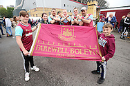 West Ham United fans pose with Irons & a Farewell Boleyn flag outside Boleyn Ground before k/o. outside Boleyn Ground before k/o. scenes around the Boleyn Ground, Upton Park in East London as West Ham United play their last ever game at the famous ground before their move to the Olympic Stadium next season. Barclays Premier league match, West Ham Utd v Man Utd at the Boleyn Ground in London on Tuesday 10th May 2016.<br /> pic by John Patrick Fletcher, Andrew Orchard sports photography.