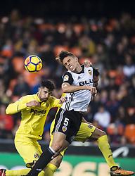 December 23, 2017 - Valencia, Spain - Alvaro, Gabriel Paulista during the match between Valencia CF against Villarreal CF , week 17 of  La Liga 2017/18 at Mestalla stadium, Valencia, SPAIN - 17th December of 2017. (Credit Image: © Jose Breton/NurPhoto via ZUMA Press)