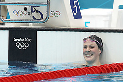 Missy Franklin of The USA after winning the Women's 100m Backstroke final  held at the aquatics centre at Olympic Park  in London as part of the London 2012 Olympics on the 30th July 2012.Photo by Ron Gaunt/SPORTZPICS