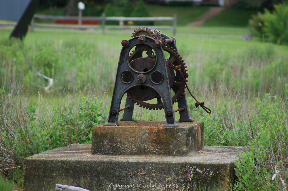 This winch was sitting in a field in Stone Creek, CT.  We assumed that it was once used to help pull boats ashore from Long Island Sound and the Thimble Islands.