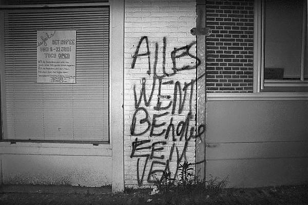 Nederland, Nijmegen, 16-8-1984Leuzen ten gunste van lesbische vrouwen. Muur bekladden.Foto: Flip Franssen/Hollandse Hoogte