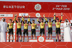 February 24, 2019 - Abu Dhabi, UNITED ARAB EMIRATES - Team Jumbo-Visma riders celebrate on the podium after winning the first stage of the 'UAE Tour' 2019 cycling race, a 16km team time trial on the Al Hudayriat Island in Abu Dhabi, United Arab Emirates, Sunday 24 February 2019. This year's edition is taking place from 24 February to 2 March. ..BELGA PHOTO YUZURU SUNADA FRANCE OUT (Credit Image: © Yuzuru Sunada/Belga via ZUMA Press)