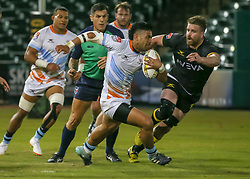 January 11, 2019 - Sugar Land, TX, U.S. - SUGAR LAND, TX - JANUARY 11:  Austin Elite center Sione Fangaiuha (13) carries the ball during the pre-season exhibition rugby match between the Austin Elite and Houston SaberCats on January 11, 2019 at Constellation Field in Sugar Land, Texas.  (Photo by Leslie Plaza Johnson/Icon Sportswire) (Credit Image: © Leslie Plaza Johnson/Icon SMI via ZUMA Press)