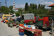 Greece, Pelion, Argalasti The market. The Church can be seen in the background