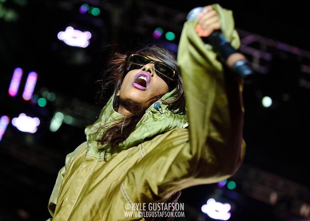 COLUMBIA, MD - SEPTEMBER 25th, 2010:  M.I.A. started her headlining set 20 minutes late at the 2010 Virgin Mobile FreeFest at Merriweather Post Pavilion. (Photo by Kyle Gustafson/For The Washington Post)