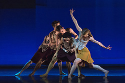 "© Licensed to London News Pictures. 18/11/2014. London, England. Dane Hurst and Hannah Rudd performing at the front, Terra Incognita choreographed by Shobana Jeyasingh.  British dance company ""Rambert"" perform their new show ""Triptych"" at Sadler's Wells Theatre from 18 to 22 November 2014. Choreographed by Shobana Jeyasingh with Luke Ahmet, Lucy Balfour, Adam Blyde, Carolyn Bolton, Simone Damberg Würtz, Dane Hurt, Vanessa King, Adam Park, Hannah Rudd and Pierre Tappon dancing. Photo credit: Bettina Strenske/LNP"