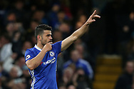 Chelsea's Diego Costa celebrates scoring his sides third goal during the Premier League match at Stamford Bridge Stadium, London. Picture date: April 25th, 2017. Pic credit should read: David Klein/Sportimage