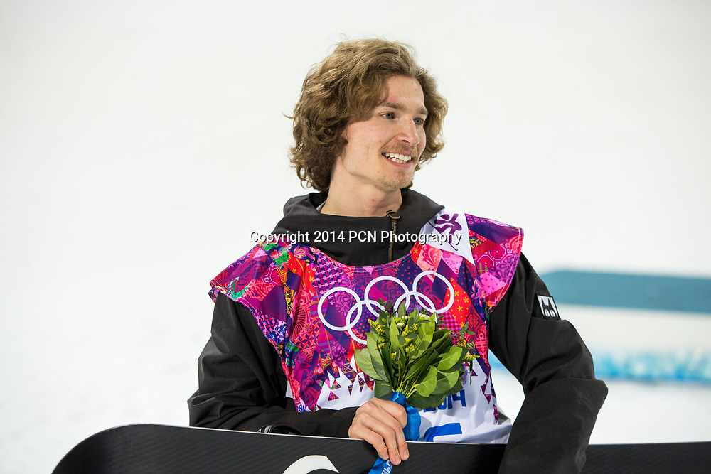 Iouri Podladtchikov (SUI) wins the gold medal in Men's Snowboard Halfpipe at the Olympic Winter Games, Sochi 2014