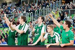 Players of KK Union Olimpija Ljubljana celebrate during basketball match between KK Union Olimpija Ljubljana and BC Maccabi Fox Tel Aviv (ISR) in 5th Round of EuroCup LAST32, on February 3rd, 2016 in Arena Stozice, Ljubljana, Slovenia. Photo by Urban Urbanc/ Sportida