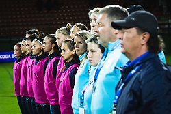 Bench of Slovenia during anthem before football match between Slovenia and Nederland in qualifying Round of Woman's qualifying for EURO 2021, on October 5, 2019 in Mestni stadion Fazanerija, Murska Sobota, Slovenia. Photo by Blaž Weindorfer / Sportida
