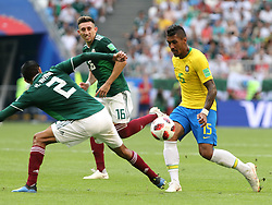 July 2, 2018 - Samara, Russia - July 2, 2018, Russia, Samara, FIFA World Cup 2018, 1/8 finals. Football match of Brazil - Mexico at the stadium Samara - Arena. Player of the national team Paulinho  (Credit Image: © Russian Look via ZUMA Wire)