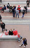 Fans gathering before the Arsenal Chelsea game<br /> <br /> Photographer Ashley Western/CameraSport<br /> <br /> Football - Barclays Premiership - Arsenal v Chelsea - Sunday 26th April 2015 - Emirates Stadium - London<br /> <br /> © CameraSport - 43 Linden Ave. Countesthorpe. Leicester. England. LE8 5PG - Tel: +44 (0) 116 277 4147 - admin@camerasport.com - www.camerasport.com