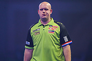 Michael van Gerwen leaves the stage after the second set during the PDC William Hill World Darts Championship Semi-Final at Alexandra Palace, London, United Kingdom on 30 December 2019.