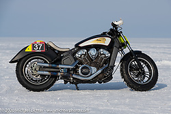 Oleg Goryunov's Indian Scout ice racer at the Baikal Mile Ice Speed Festival. Maksimiha, Siberia, Russia. Saturday, February 29, 2020. Photography ©2020 Michael Lichter.