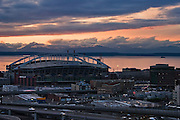 Dusk over Qwest Field stadium and downtown Seattle, Washington.