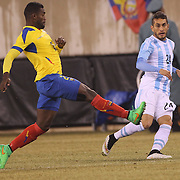 Roberto Pereyra, (right), Argentina, in action during the Argentina Vs Ecuador International friendly football match at MetLife Stadium, New Jersey. USA. 31st march 2015. Photo Tim Clayton