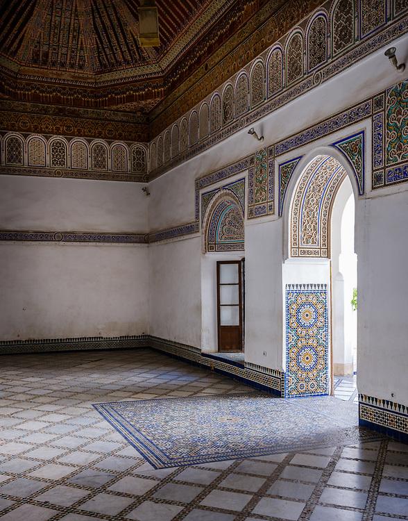 MARRAKESH, MOROCCO - CIRCA APRIL 2017: Interior room of the Bahia Palace in Marrakech
