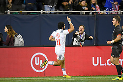 November 3, 2018 - Chicago, IL, U.S. - CHICAGO, IL - NOVEMBER 03: Ryan Matyas (11) of USA celebrates with teammates after scoring a try in action during the Rugby Weekend match between the New Zealand Maori All Blacks and the USA Eagles on November 3, 2018 at Soldier Field, in Chicago, Illinois.  (Photo by Robin Alam/Icon Sportswire) (Credit Image: © Robin Alam/Icon SMI via ZUMA Press)