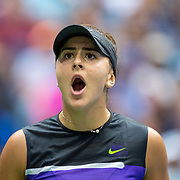 2019 US Open Tennis Tournament- Day Thirteen.    Bianca Andreescu of Canada reacts during her match against Serena Williams of the United States in the Women's Singles Final on Arthur Ashe Stadium during the 2019 US Open Tennis Tournament at the USTA Billie Jean King National Tennis Center on September 7th, 2019 in Flushing, Queens, New York City.  (Photo by Tim Clayton/Corbis via Getty Images)
