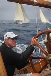 Griff Rhys Jones onboard his Classic Boat, Argyll, a 1946 Olin Stephens designed Bermudan Yawl - Herald  Magazine <br /> <br /> Racing nearby boats