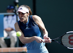 March 7, 2019 - Los Angeles, California, U.S - Andrea Petkovic of Germany, returns the ball to Venus Williams of USA, during the women singles first round match of the BNP Paribas Open tennis tournament on Thursday, March 7, 2019 in Indian Wells, California. Williams won 2-1. (Credit Image: © Ringo Chiu/ZUMA Wire)