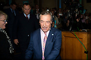 Brexit party leader, Nigel Farage goes on stage to addresses delegates at the final event of the Brexit Party Tour in London, United Kingdom on 27th September 2019. In the event of a general election being called, the party has already selected prospective parliamentary candidates in  constituencies across the UK .