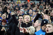 AFC Wimbledon fans singing during the The FA Cup 3rd round match between Tottenham Hotspur and AFC Wimbledon at Wembley Stadium, London, England on 7 January 2018. Photo by Matthew Redman.