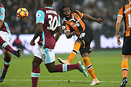 Dieumerci Mbokani of Hull City  has a shot at goal. Premier league match, West Ham Utd v Hull city at the London Stadium, Queen Elizabeth Olympic Park in London on Saturday 17th December 2016.<br /> pic by John Patrick Fletcher, Andrew Orchard sports photography.