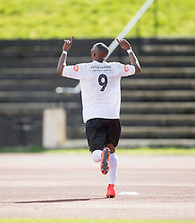 Edinburgh City's Ortega Deniran cele scoring their goal. <br /> Edinburgh City 1 v 1 Brora Rangers, 1st leg, Pyramid Playoffs at Meadowbank, 25/4/2015.