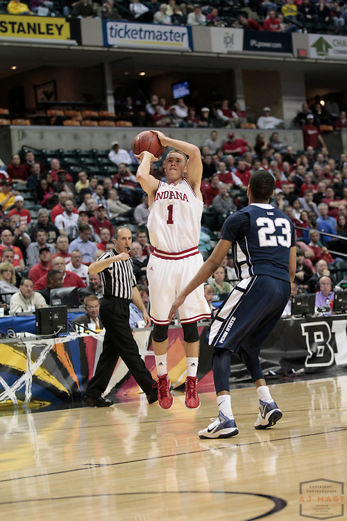 08 March 2012: Indiana Guard Jordan Hulls (1) as the Indiana Hoosiers played the Penn State Nittnay Lions in a college basketball game during the Big 10 Men's Basketball Championship in Indianapolis