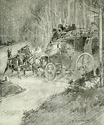 The Stage Coach from the book The sport of our ancestors; being a collection of prose and verse setting forth the sport of fox-hunting as they knew it; by baron Willoughby de Broke, Richard Greville Verney, 1869-1923; and illustrated by Armour, G. D. (George Denholm),  Published in London by Constable and co. ltd. in 1921