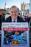 Lord Alf Dubs joins supporters of the Child Refugee charity Safe Passage calling on Peers in the House of Lords to back an amendment and uphold refugee family reunion on the 20th of January 2020 in Parliament Square, Westminster, London, United Kingdom. 95% of the children currently receiving legal support from the charity Safe Passage International to reunite with relatives in the UK would not be eligible for family reunion under current UK Immigration Rules.