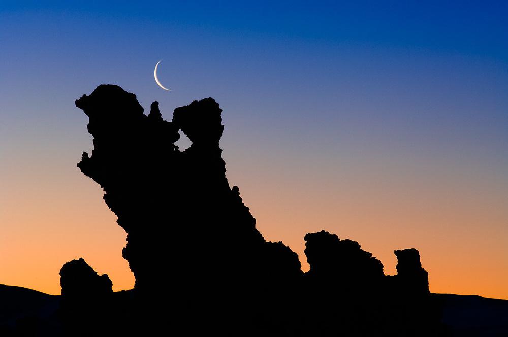 Tufa towers and crescent moon, morning light, April, Mono Lake State Natural Reserve, Mono County, California, USA
