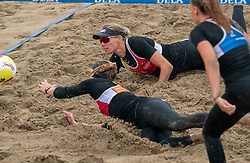 Sanne Keizer, Madelein Meppelink in action. The DELA NK Beach volleyball for men and women will be played in The Hague Beach Stadium on the beach of Scheveningen on 22 July 2020 in Zaandam.