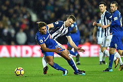 Everton's Dominic Calvert-Lewin is tackled by West Bromwich Albion's Jonny Evans