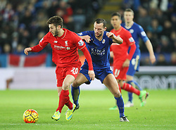 Adam Lallana of Liverpool (L) and Danny Drinkwater of Leicester City in action - Mandatory byline: Jack Phillips/JMP - 02/02/2016 - FOOTBALL - King Power Stadium - Leicester, England - Leicester City v Liverpool - Barclays Premier League
