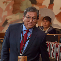 Navajo Nation President Russell Begaye, walks into the Council Chambers to address the delegates of the Navajo Nation Council Fall Session, in Window Rock.