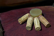 silicone bung on barrel and corks dom rossignol trapet gevrey-chambertin cote de nuits burgundy france