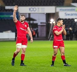 George Kruis of Saracens waves to the fans after the match<br /> <br /> Photographer Simon King/Replay Images<br /> <br /> European Rugby Champions Cup Round 5 - Ospreys v Saracens - Saturday 11th January 2020 - Liberty Stadium - Swansea<br /> <br /> World Copyright © Replay Images . All rights reserved. info@replayimages.co.uk - http://replayimages.co.uk
